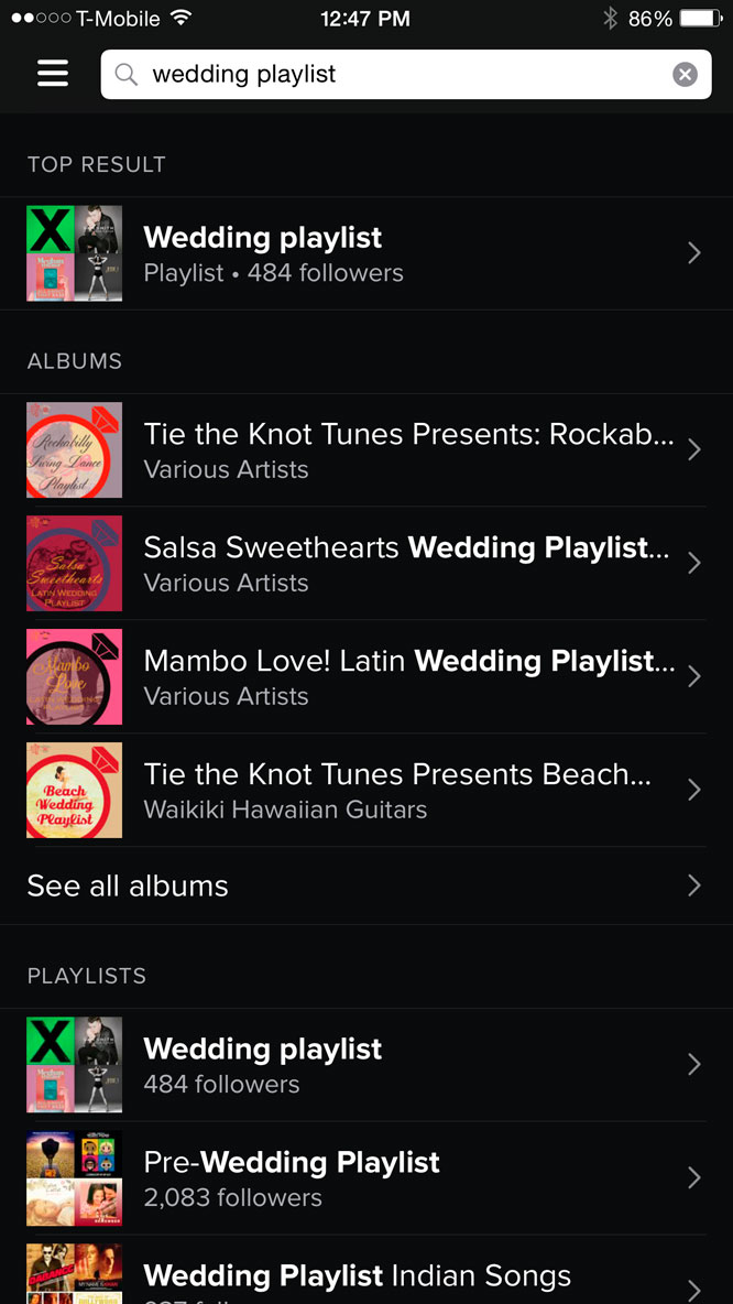 Wedding Apps Spotify